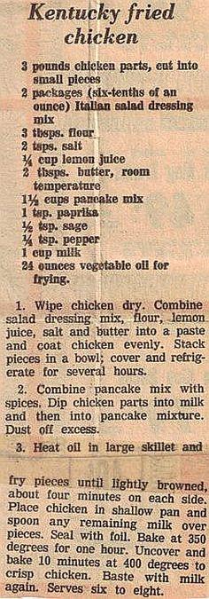 Kentucky Fried Chicken - KFC recipe newspaper clipping from 1977 Old Recipes, Vintage Recipes, Meat Recipes, Cooking Recipes, Radish Recipes, Turkey Recipes, Vegemite Recipes, Cantaloupe Recipes, Restaurant Recipes