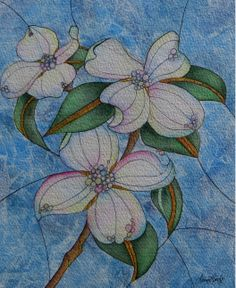 Dogwood Blossoms, Watercolour, Ink & Acrylic by Laura Leeder. Size 8x10  www.lauraleeder.com