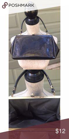 """Vintage patent handbag Black patent vintage purse. Gold hardware, lined, clasp closure. 13"""" x 6.5"""" x 3"""". Strap drop 5.5"""". Excellent vintage condition. Bags Clutches & Wristlets"""