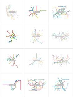 Subway Maps Line Art   12 print collection series   by dualhabit, $100.00