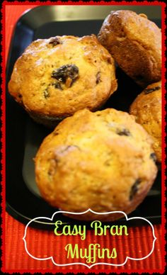 Easy bran #muffins made with Raisin Bran cereal and buttermilk. The batter last for weeks in the fridge and they are super easy to make!