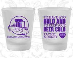 To Have and To Hold, Promotional Frosted Glassware, Beer Wedding, Hashtag Wedding, Frosted Shot Glasses (437)