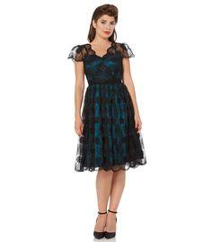 Voodoo Vixen Simone Floral Organza Flare Dress