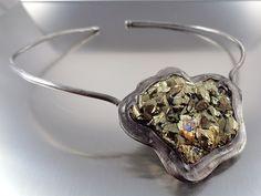 Chalcopyrite Druzy Necklace, Natural raw chalcopyrite crystal druzy statement necklace
