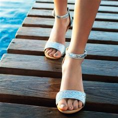 Sequined Sandals with Small Wedge Heel,  in 7 Colours Chocolate+White+Silver-coloured+Turquoise+Black+Gold-coloured+Blue