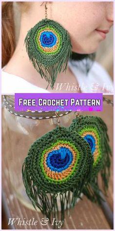 Crochet Peacock Earrings Free Patterns-Crochet Peacock Feather Earrings Free Pattern