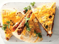Cheesy mince quesadilla • The juicy combination of melted cheese and saucy mince is perfect with a crisp tortilla.
