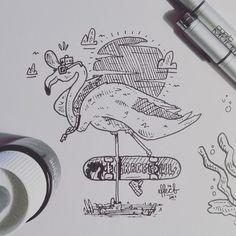 #17 for inktober (graceful) Flamingo doing a flamingo! Lol .  .  .  .  .  .  #inktober #inktober2017 #graceful #flamingo #skateboarding #skatelife #artlife #artistoninstagram #instaart #instagood #drawing #traditionalart #followformore #fun #effect14