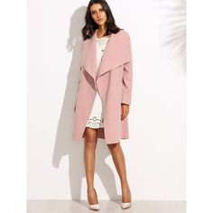 Drop Shoulder Drape Collar Wrap Coat ❤ liked on Polyvore featuring outerwear, coats, pink coats, drape coat, collar coat, wrap collar coat and drape collar coat