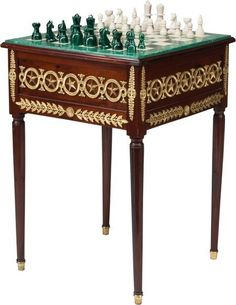A Russian Empire-Style Mahogany and Gilt Bronze Games Table with Malachite and Alabaster Top, late century in pa. European Furniture, Victorian Furniture, Chess Table, Neoclassical Architecture, Chess Players, Marvel Wallpaper, Empire Style, Chess Pieces, Table Games