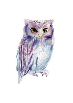 Owl Art Print by coconuttowers Watercolor Owl Tattoos, Owl Watercolor, Watercolor Paintings, Painting Art, Original Paintings, Nursery Paintings, Animal Paintings, Nursery Art, Owl Art