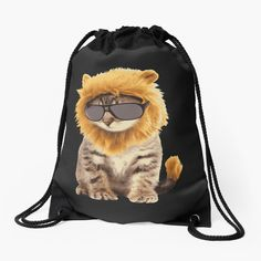 'Cool cat' Drawstring Bag by Backpack Bags, Drawstring Backpack, Animal Design, Cool Cats, Woven Fabric, Cool Stuff, Stuff To Buy, Funny Animals