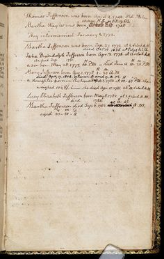 A page from Thomas Jefferson's Book of Common Prayer listing the births and deaths in his family.