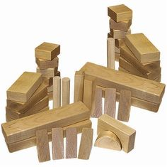 Endeavour Toys - Holgate Wooden Blocks - 48-Piece Wooden Toy Block Set Made in the USA.