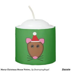 Shop Merry Christmas Mouse Votive Candle created by DestroyingAngel. Christmas Holidays, Merry Christmas, Votive Candles, Santa Hat, A Funny, Red And White, Cartoon, Nice, Christmas Vacation