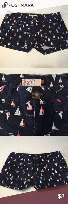 Sailboat Shorts Perfect for summer fun! Navy blue shorts with Sailboats. 98% cotton 2% spandex SO Shorts