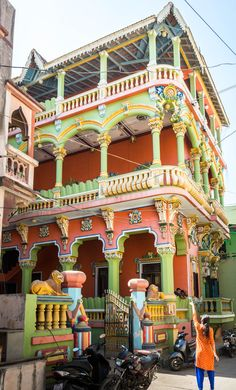A magnificently colorful haveli, or mansion, on the island of Diu, India. One of the colorful doors of Diu, India. Diu is a small town in west India, and its cheap drinks and Portuguese history make it a must-see for all travelers in India.