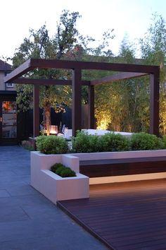 Pergola with floating bench & soft lighting
