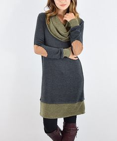 Another great find on #zulily! Olive Two-Tone Elbow-Patch Tunic #zulilyfinds