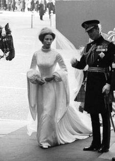 Princess Anne's wedding dress, complete with fringe tiara