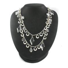 "RARE Joan Rivers Silvertone Flirtation Faceted Charm 60"" Necklace w/3"" Extender  #JoanRivers #Charm"