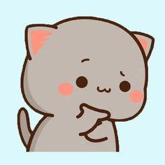Cute Cartoon Images, Cute Images, Chibi Cat, Cute Cat Gif, Cute Doodles, Cute Icons, Kawaii Cute, Cat Art, Meme
