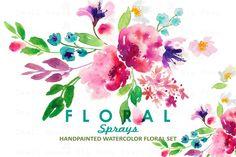 Floral Sprays-Watercolor Clip Art by SmallHouseBigPony on Creative Market