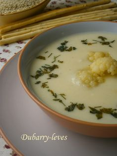 Dubarry-leves 🍴 Kinds Of Soup, Cheeseburger Chowder, Pudding, Desserts, Recipes, Food, Soups, France, Tailgate Desserts
