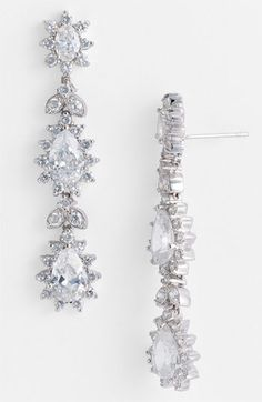 CZ by Kenneth Jay Lane Triple Tier Drop Earrings available at #Nordstrom