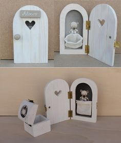 puerta ratoncito perez Helena de Lucas, Muebles Infantiles hechos a mano Wooden Craft Sticks, Craft Stick Crafts, Diy And Crafts, Diy Fairy Door, Tooth Fairy Doors, Diy For Kids, Crafts For Kids, Fairy Bedroom, Unicorn Rooms