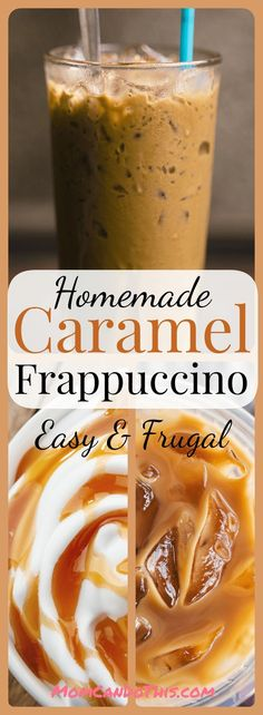 Easy Recipe For Homemade Caramel Frappuccino. Click through to print recipe and try this one today. My new super favorite coffee drink! Easy and frugal homemade frappuccino recipe. Caramel Frappe Recipe, Caramel Frappuccino, Homemade Frappuccino, Starbucks Frappuccino, Starbucks Drinks, Coffee Tasting, Coffee Drinks, Coffee Shops, Coffee Lovers