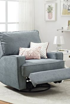 Glenda Swivel Reclining Glider is part of Swivel recliner chairs - Glenda Swivel Reclining Glider NurseryGlider LivingRooms Nursery Recliner, Swivel Recliner Chairs, Swivel Rocker Recliner Chair, Chair Cushions, Sleeper Sofas, Recliner Cover, Sectional Sofas, Upholstered Chairs, Child Room