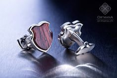 Handmade cufflinks with Cocobolo wood, red gold screws and stainless steel. Goldsmith designer Jewelry by OR-MANA.ch Quality from Zurich Switzerland.