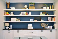 Shelves how i built wall to wall floating shelves in our home office for . White Shelves, Wall Shelves, Floating Shelves, Home Office Design, Home Office Decor, Office Ideas, Room Interior, Interior Design Living Room, Home Office Shelves