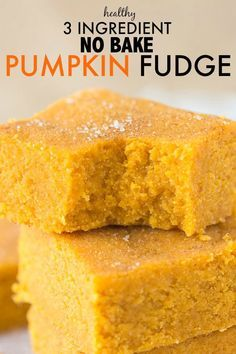 Healthy Three Ingredient No Bake Pumpkin Fudge- Delicious, soft and takes less than FIVE minutes to whip up- It's low fat, high fiber and very low in sugar.