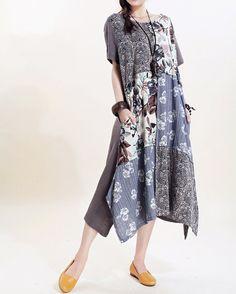 Ma Lieb shop - Women long sundress Linen stitching Long short sleeved by MaLieb