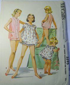 Baby Doll Pajamas, Girls Pajamas, Baby Dolls, Kids Clothes Patterns, Kids Patterns, Clothing Patterns, 50s Clothing, Apron Sewing, Pajama Pattern