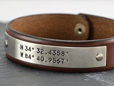 3rd Anniversary Gift For Men - Latitude Longitude GPS Leather Bracelet - Grooms Gift, Groomsmen Gift,
