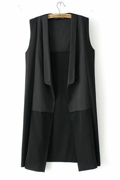 Black Sleeveless Long Vest