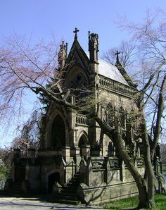 Probably the most famous mausoleum in Spring Grove Cemetery, the Dexter Mausoleum was designed by James Keys Wilson and built in 1869. It memorializes Edmund Dexter, who entertained Charles Dickens in 1842 and whose portrait hangs in the Cincinnati Art Museum. The structure has lost a few pinnacles over the years; not to mention it used to have a towering ornate steeple in the middle of the roof.