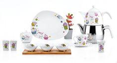 Falez Sweet Love 43 Parça Kare Porselen Kahvaltı Takımı FKS 1010