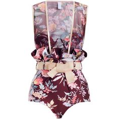 Tamer Floral Paperbag 1 Pc (19.830 RUB) ❤ liked on Polyvore featuring swimwear, jumpsuit, swimsuit, zimmermann, metallic swimsuits, underwire bathing suits, floral bathing suits, metallic swimwear and summer swimsuits