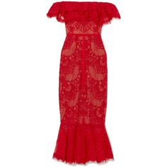 Marchesa Notte Off-the-shoulder ruffled corded lace midi dress (£610) ❤ liked on Polyvore featuring dresses, red, red lace dresses, red midi dress, off shoulder midi dress, red lace cocktail dress and lace midi dress