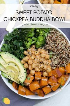 Sweet Potato Chickpea Buddha Bowl (Vegan) This sweet potato buddha bowl is an easy and delicious way to pack a lot of nutrition, flavor, and antioxidants into one bowl. Veggie Recipes, Whole Food Recipes, Diet Recipes, Vegetarian Recipes, Healthy Recipes, Plant Based Dinner Recipes, Plant Based Meals, Vegan Bowl Recipes, Potato Recipes