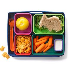 Healthy School Lunches & Snacks - Catch of the Day: Fish-shaped tuna sandwich with lettuce on whole wheat bread, 10 baby carrots with 2 tablespoons low-fat ranch dip, Small plum, cup whole-grain Goldfish crackers Kids Lunch For School, Healthy School Lunches, Healthy Snacks, Healthy Tuna, Healthy Eating, Bento Box Lunch, Lunch Snacks, Box Lunches, Lunch Boxes