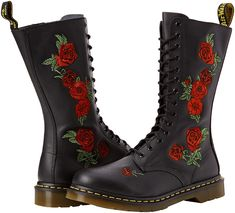 Doc martens Black/ red roses size High tops doc martens with side zipper and red rose detail on side of boot - worn once Dr. Martens Shoes Lace Up Boots Dr Martens Chelsea, Dr. Martens, Lace Up Boots, Black Boots, Leather Boots, Doc Martens Schwarz, Doc Martens Black, Black And Red Roses, Thing 1