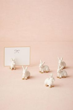 pink and gold bunny place card holders