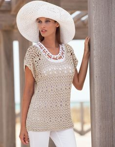 Crochet: Summer top, adult, women. Free pattern, in Spanish, English and with charts. Download button under photo.