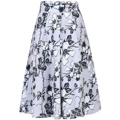 Jolie Moi Floral 50s A-Line Skirt , Grey (£32) ❤ liked on Polyvore featuring skirts, grey, floral a line skirt, knee length flared skirts, knee length a line skirt, grey pleated skirt and flare skirt
