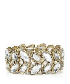 Crystal (Clear) Gold Petal Stretch Bracelet    290531590   New Look